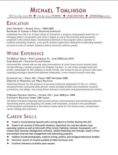 Coursework on a resume graduate school